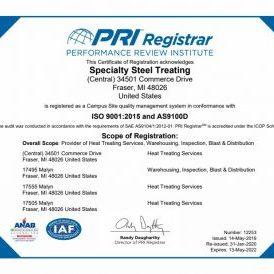 ISO 9001 Cert Specialty Steel